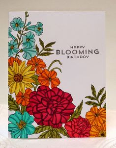 2014-2015 Stampin' Up! Corner Garden Background stamp colored with Blendabilities
