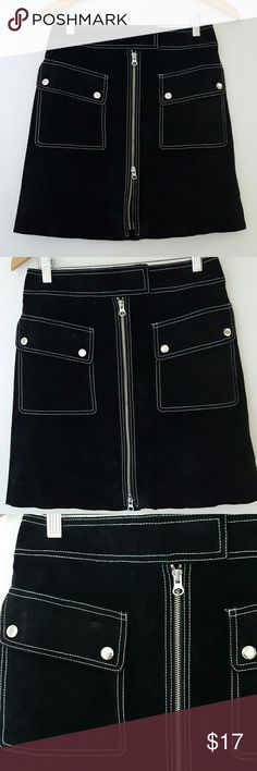 Leather Suede Zippered Skirt! Super cute with lots of bold zippers, snaps, and over stitching in white. Zipper zips all the way up or down. Fully lined. Super clean looks like new! Waist 28. Length 18. Show it off! Newport News Skirts Mini