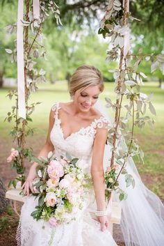blush spring garden wedding on Glamour & Grace Wedding Swing, Wedding Pics, Wedding Trends, Wedding Designs, Summer Wedding, Dream Wedding, Wedding Day, Wedding Dresses, Lakeside Wedding