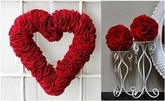 Folded felt, pinned onto foam wreath or balls -- balls would look great hanging too.