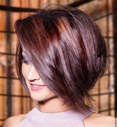 Stacked Bob Haircut with Side Long Bangs. Would be great with that volume too. Short Hairstyles 2015, Stacked Bob Hairstyles, Summer Hairstyles, Simple Hairstyles, Bob Haircut With Bangs, Haircut And Color, Haircut Short, Short Hair Cuts, Short Hair Styles