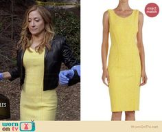 Love Maura's style    Maura�s yellow dress and cropped leather jacket on Rizzoli and Isles.  Outfit Details: http://wornontv.net/34458/ #RizzoliandIsles