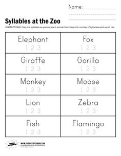 Syllable Worksheet: Say each picture. Clap the syllables as you ...
