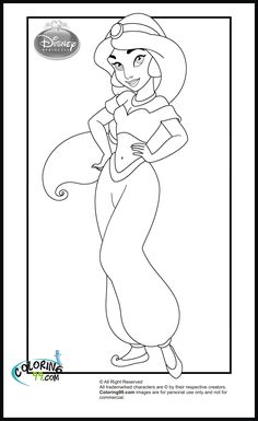 Princess Jasmine Playing with the Birds Coloring Pages Disneys