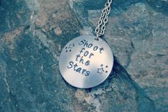 Shoot for the Stars Hand stamped Aluminum Necklace - Hand Stamped Aluminum Locket - Metal Stamped Jewelry