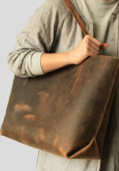 045   Handmade Leather Tote Bag Hand Stitched by alwaysoozz, $178.83