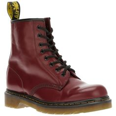 Dr. Martens 1146 Boot ($113) ❤ liked on Polyvore featuring shoes, boots, chaussures, botas, red, genuine leather boots, tall lace up boots, red tall boots, tall boots and leather lace up boots