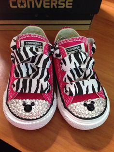 f10033414828c6 Bright Pink Minnie Mouse Zebra Bling Converse by Munchkenzz