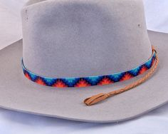 Native American Inspired hand made beaded mountain design hat band