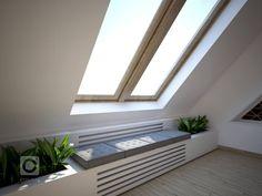 Návrh kuchyně a obýváku v podkrovním mezonetovém bytě. Vymazlený design je ve stylu skandinávský minimalismus. V kuchyňské části s dřevodekorem na horních… Sweet Home Design, Floating Nightstand, Blinds, Mattress, House Design, Windows, Curtains, Bed, Cover