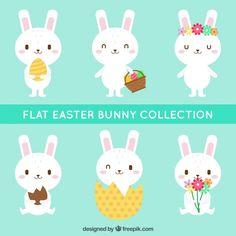 Pack of cute easter bunnies Free Vector
