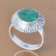 925 SOLID STERLING SILVER EXCLUSIVE EMERALD RING 4.29g DJR7385 #Handmade #Ring