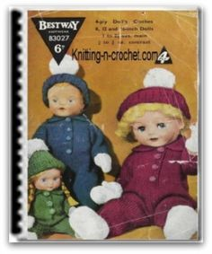 Cute baby doll clothes free pattern. Out fits come in 3 sizes, 8, 12, and 16 inch.
