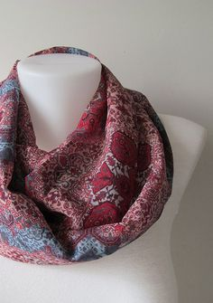 Red Blue Kilim Pattern Chiffon Infinity Scarf - Circle Scarf - Loop Scarf - Fall Winter Spring Summer Fashion (17.90 USD) by NaryasSewingCorner