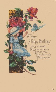 happy birthday sweet girl and butterfly in blue, via Flickr.
