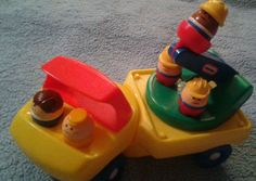 "Little Tikes ""Cherry Picker"" Truck Vintage 1985  Truck  With 5 Chunky People #LittleTikes"
