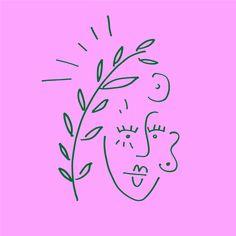 Doodle Face Plant Flower Doodles, Graphic Design, Illustration, Face, Flowers, Plants, The Face, Illustrations, Plant