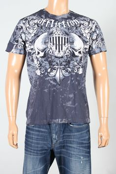 Affliction® Men's Signature Series 'Jason Britton' T-Shirt.  Affliction clothing line always brings creative tees for men. Jason Britton t-shirt from Affliction is the new masterpiece for men.    SKU: A1964-CHARCOAL        From Affliction Signature Series collection      Short sleeve t-shirt      Crew neck.      Affliction signature 'Jason Britton' print on front.      Grinded.      100% Cotton Tee.