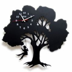 This tree clock' design Inspired by a tree, this tree clock is full of art taste. The tree clock is designed in the shape of a tree, on which a girl is . Tree Clock Where Childhood Memory Gets Inspired Unusual Clocks, Cool Clocks, Unique Wall Clocks, Wall Clock Gift, Diy Clock, Clock Ideas, Decoration, Art Decor, Decor Ideas