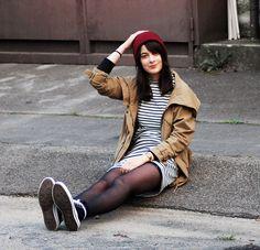 Choies Dress, Asos Beanie, Converse Sneakers, Bershka Parka, H&M Sweater