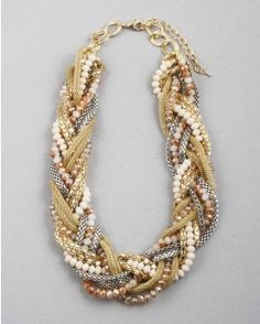 Beaded Braided Bridal Statement Necklace by stitchandstonedesign