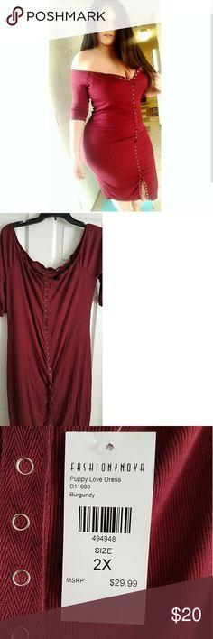 Fashion Nova dress Fashion Nova dress Color: burgundy  Size:2x Fashion Nova Dresses