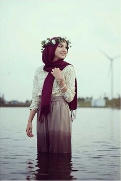 hijab and flowers resmi