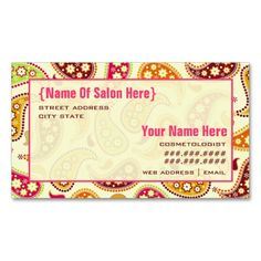 Paisley Cosmetologist Salon Appointment Business Card. This great business card design is available for customization. All text style, colors, sizes can be modified to fit your needs. Just click the image to learn more!