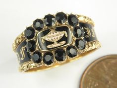 SUPER ANTIQUE GEORGIAN 15K GOLD ENAMEL MOURNING URN LOCKET RING c1819 ANN GALE