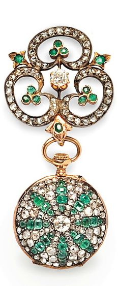Antique Emerald and Diamond Open Face Pendant Watch, the case pave-set with one old European- and rose-cut diamonds and circular- and emerald-cut emeralds, enclosing a stem-wind, pin-set LeCoultre & Co. movement, 25 mm, suspended from a conforming watch pin, silver-topped gold mount, total lg. 2 3/8 in.