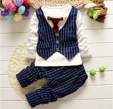 2015 Spring Autumn baby boys christmas outfits clothing sets children tie vest t-shirt suit fancy kids gelentment clothes set(China (Mainland))