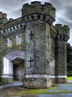 Wray Castle, Windermere, Cumbria, England. A Victorian neo-gothic castle built in 1840 for a retired Liverpudlian surgeon, James Dawson. Open to the public