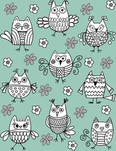 """""""Funky Feathered Friends"""" Owl Fabric"""