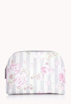 Striped Rose Midsize Cosmetic Pouch | FOREVER21 - 1000127365
