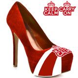 HERSTAR™ Womens Keep Calm Carry On Microsuede Pumps (Carry On, Keep Calm) | Novelty Heels | HERSTAR