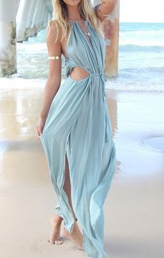Blue Cute Out Sleeveless Maxi Dress. Totally could see me in this for my Antigua vacation!