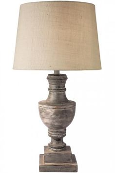 "Admiral Table Lamp32""H x 16"" diameter. Shade: 11.75""H x 16"" diameter. Assembly required. Mango wood base with cotton/fiber shade."