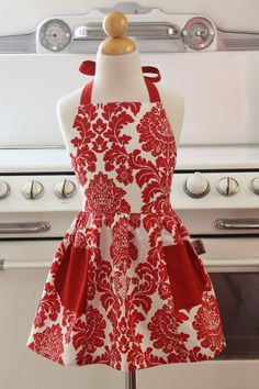 @S.N.Bracken saw this and thought of you. Retro Apron for Little Girls Red and White Damask Full by Boojiboo, $16.75