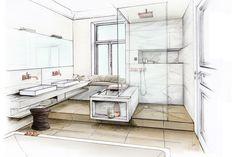 After Bathroom - bathroom sketches - Architektur Interior Design Renderings, Drawing Interior, Interior Rendering, Interior Sketch, Interior Design Tips, Interior Architecture, Interior Ideas, Best Interior Paint, Interior And Exterior
