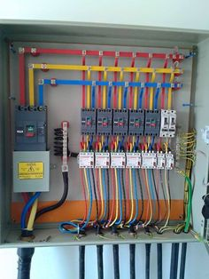 Electrical Cabinet, Home Electrical Wiring, Electrical Projects, Electrical Installation, Electrical Engineering, Electrician Work, Power Tool Storage, House Wiring, Apartment Floor Plans