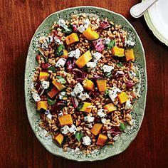 Roasted Squash with Farro and Almonds Recipe | MyRecipes.com