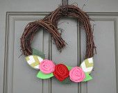 REDUCED Valentine Heart Vine Wreath/Burlap Roses Flowers Leaves/Felt Leaves/Chevron Leaves