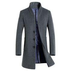 Long Trench Coat Men Overcoat Winter Jacket Men 2016 Windbreaker Woolen Solid Black Trench Coat Men Wool English Style Costume