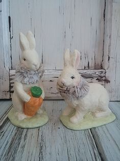These sweet bunnies are oh so precious and will be a lovely accent to your Easter and Spring Decor. �The upright bunny measures approx. 5.75 high and the sitting bunny is approx. 5 high and 4 long. �The have a distressed crackled finish to give them a vintage feel. �
