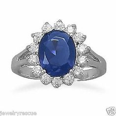 Blue Clear Cubic Zirconia Sterling Silver Flower Ring Size 9 Princess Diana New | Available in sizes 6 - 9 | eBay