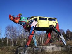 Giant Metal Cow, Made From Recycled Car Parts