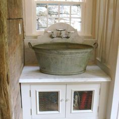 Barn Home.Wash bucket sink with wall mount faucet this would be a great laundry room sink Laundry Room Sink, Farmhouse Laundry Room, Farmhouse Style, Laundry Rooms, Basement Laundry, Mud Rooms, Small Laundry, Rustic Farmhouse, Kitchen Sink