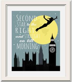 Hey, I found this really awesome Etsy listing at https://www.etsy.com/listing/156317421/peter-pan-second-star-to-the-right