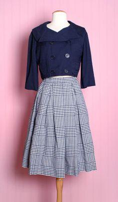 1950'S Navy Blue Skirt & Jacket Set