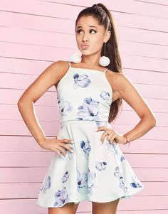 Ariana Grande For Lipsy Floral Frill Hem Skater Dress